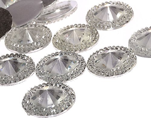 Gem 20mm - CraftbuddyUS 50pcs 20mm CLEAR Flat Back Pointed Diamond Round Diamante Rhinestone Resin Gems
