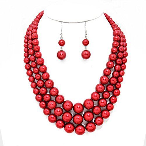 Statement Beaded Layered Strands Red Simulated Pearl Beads Silver Chain Necklace Earrings Set Gift (Beaded Silver Necklace)