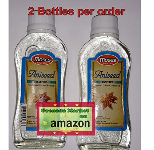 ANISE SEED Essence - MOSES (2 Bottles @ 100ml ea), premium product of Grenada, Caribbean (Seed Biscotti Anise)