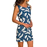 Woman Dress Jaminy Womens Summer Print Color Block Sleeveless Dress A-Line Maxi Mini Sundress (Blue, Size:M-UK:10)