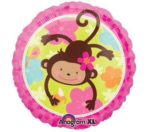 Pink Mod 'Monkey Love' Foil Mylar Balloon