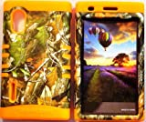 Cellphone Trendz (TM) Camo Green Leaves on Orange skin 2 in 1 High Impact Hybrid Bumper Cover Case for Tracfone, Straighttalk, Net 10 Lg Optimus Extreme L40G + Free Wristband Accessory - Cellphone Trendz (TM)