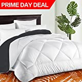 Queen Comforter Soft Quilted Down Alternative Duvet Insert with Corner Tabs Summer Cooling 2100 Series,Luxury Fluffy Reversible Hotel Collection,Hypoallergenic for All Season,White/Gray,88 x 88 inches