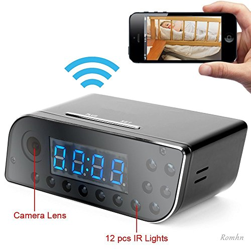 Romhn-8GB-1280x720P-WIFI-Network-Hidden-Camera-Clock-Motion-Activated-Video-Recorder-Alarm-Clock-Mini-DVR-Camcorder-for-Android-IOS-APP-Remote-View-160View