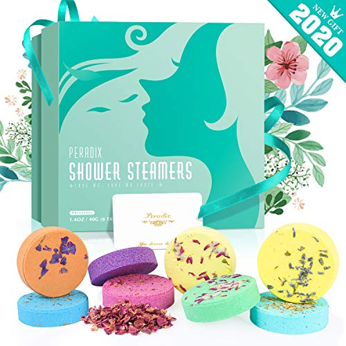 Peradix Shower Bombs, Shower Steamers for Aromatherapy and Stress Relief, Essential Oils for Home Spa, Vaporizing Shower Tablets - Great Birthday Gifts for Mom and Wife - Spa Kit Gift for Women Mother