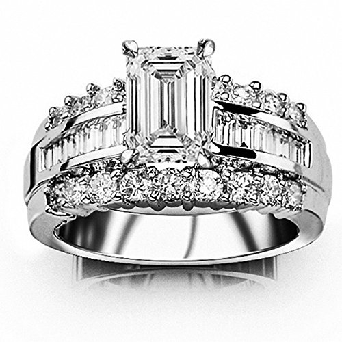 14K White Gold 1.85 CTW Channel Set Baguette and Round Diamond Engagement Ring w/0.75 Ct Emerald Cut G Color VVS1 Clarity Center - Vvs1 Clarity