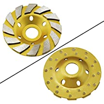 "Ocr TM 4"" Concrete Turbo Diamond Grinding Cup Wheel for Angle Grinder 12 Segs Heavy Duty (Yellow 12segs B)"
