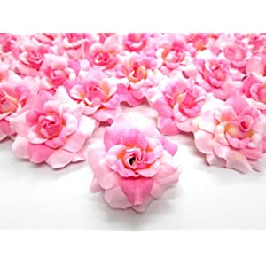 "(100) Silk Two Tone Light Pink Roses Flower Head - 1.75"" - Artificial Flowers Heads Fabric Floral Supplies Wholesale Lot for Wedding Flowers Accessories Make Bridal Hair Clips Headbands Dress 2"