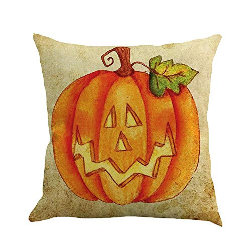 CHIDY Halloween Pumpkin castleSquare Pillow Cases Linen Sofa Cushion Cover Home Decor ()