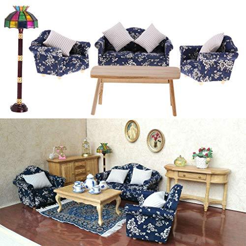 NATFUR Retro 1/12 Dollhouse Furniture Sofa Couch Cushions End Table Floor Lamp 9pcs