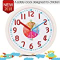 """TXL 12"""" Analog Kids Wall Clock with Large and Colorful Hands,Teach Children to Learn Time,Silent and Fun Second Hands Design for Kid Bedroon/Nursery Playroom/Classroom Decorative"""