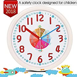 Kid Wall Clock Baby Nursery Large Wall Clock In Kid's Room Clock Bedroom Silent Non Ticking Analog Quartz Home 12 Colorful Read Learn Time for Unisex Kid Room/Nursery Playroom/School(Beige)