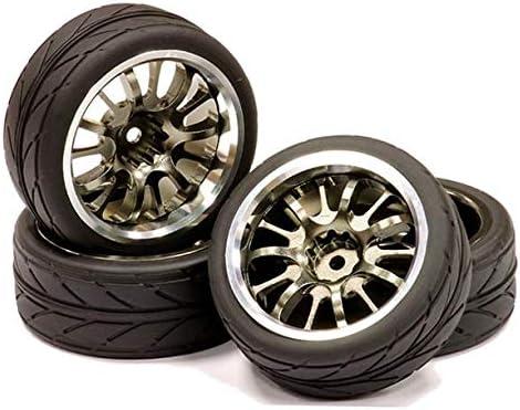 Integy RC Model Hop-ups C23821GUNSILVER Billet Machined 14 Spoke Realistic Alloy Wheel, Insert & Tire (4) for 1/10 TC