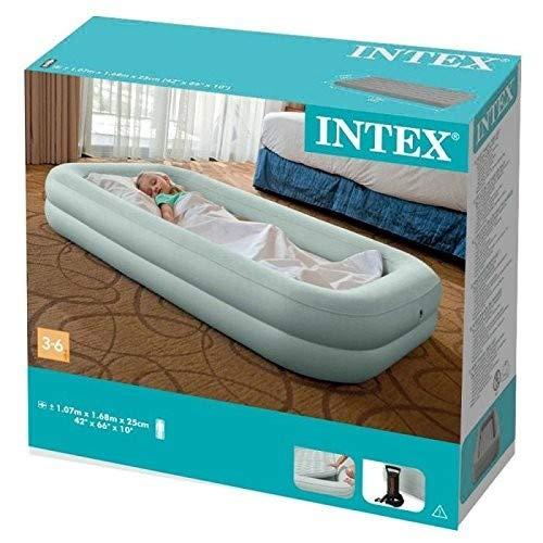 Intex 66810NP, Colchón hinchable Intex infantil & hinchador, Gris, 107 x 168 x 25 cm