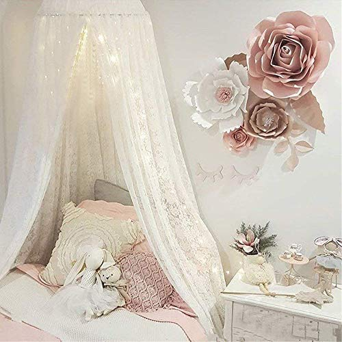 Wonder Space Handmade Elegant Pure Lace Veil Princess Bed Canopy Mosquito Net, Indoor Round Dome Hanging Play Tent Curtain, Ideal for Baby Toddlers Tots Crib, Reading Nook & House Decoration, ()