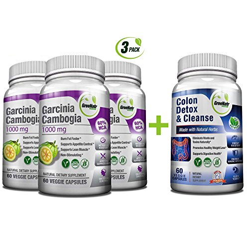 Colon Detox & Cleanse + Pure Garcinia Cambogia Extract- Weight Loss Bundle/240 Veggie Capsules-Gluten Free-Non GMO (Dr Oz Garcinia Cambogia And Colon Cleanse Reviews)