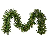 Vickerman Pre-Lit Cashmere Pine Garland with 100 Warm White Italian LED Lights, 9-Feet, Green