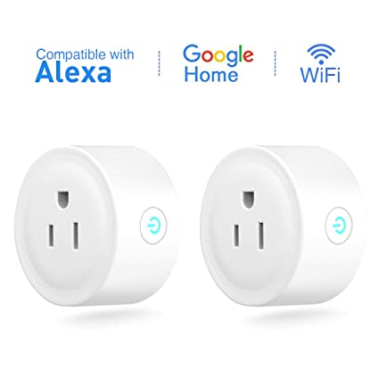 FLOUREON Smart WiFi Outlet Plug Mini Smart Socket Compatible with Amazon Alexa Google Home, No