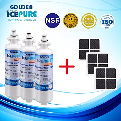 Price comparison product image Golden Icepure RWF1200A-3PACK+AF004-3PACK Water Filter Compatible With LG LT700P,  ADQ36006101, LT120F, Kenmore Elite 469918 Replacement Refrigerator Air Filter