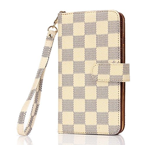 iPhone 6 Plus Case, Wallet for iPhone 6s Plus 5.5, 12-Slot Pocket, ID Card Holder, Purse Function, Hand Strap, Beige Checker Print, Premium Quality, High Grade, Classic Design, Classy Style