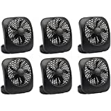 O2Cool FD05004BLK 5 Black 2 Speed Battery Operated Camping Fans - Quantity 6