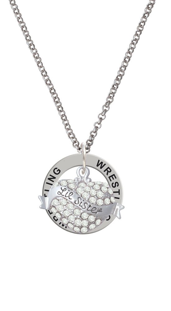 Lil Sister Banner on Clear Crystal Heart - Wrestling Affirmation Ring Necklace by Delight Jewelry