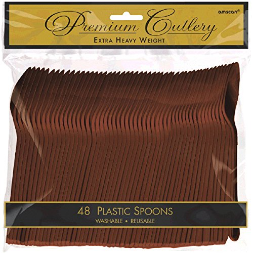 Chocolate Brown Spoons Plastic - Amscan Premium Heavy Weight Plastic Spoons | Chocolate Brown | Party Supply | 576 ct.