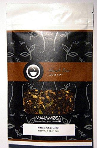 Mahamosa Masala Chai Tea Decaf 4 oz - Decaffeinated Black Tea Loose Leaf (with ginger, cinnamon, cardamom, vanilla) (Vanilla Tea Loose Leaf Mahamosa)