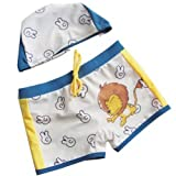 Kid Swimwear Boys Swim Shorts Lion Brief for kid with Cap, 5-6 Years Old