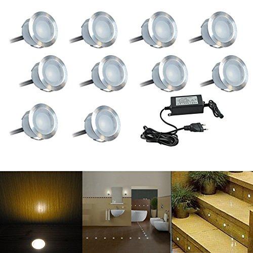 LED Bodeneinbaustrahler Aussen 10er Set Ø30mm Warmes Weiß IP67 0.6W Wasserdichte Bodenleuchten Terrasse Einbauleuchten