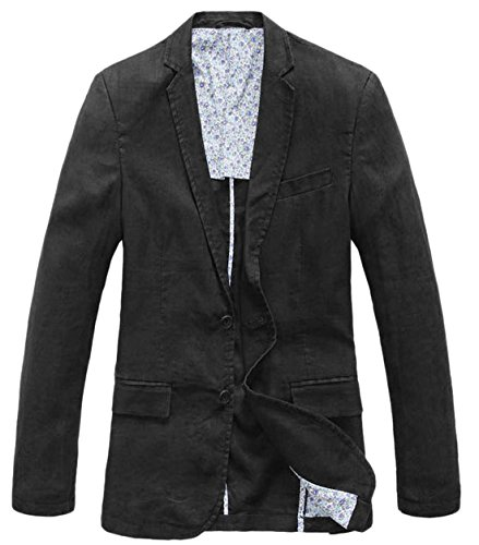 - chouyatou Men's Lightweight Half Lined Two-Button Suit Blazer (Medium, Black)