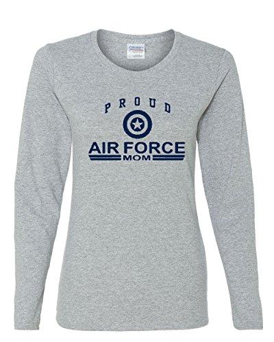 Proud Air Force Mom Long Sleeve T-Shirt US Air Force USAF Gray XL