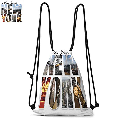 NYC Decor Drawstring backpack series New York City Themed Collage Featuring with Different Areas of the Big Apple Manhattan Scenery Convenient choice for daily activities W17.3 x L13.4 Inch Multi