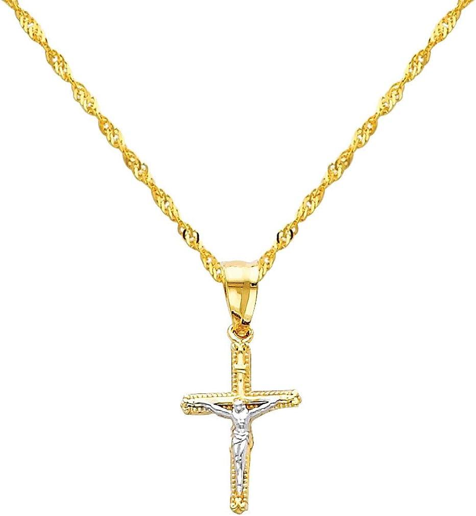 14k Yellow Gold Jesus Cross Religious Pendant with 1.2mm Singapore Chain