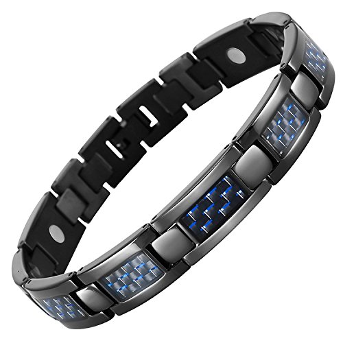 HOT TIME Men's Fashion Blue Carbon Fiber Titanium Magnetic Bracelet (Blue) Carbon Fiber Magnetic Bracelet