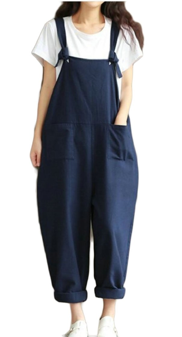 Fly Year-uk Women's Overalls Casual Harem Pants Wide Leg Low Crotch Loose Trousers