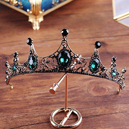(Yfe Wedding Bridal Crown Tudor Crown Tiara Emerald Crystal Crown Headband for Women PROP)