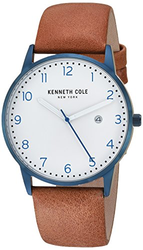 - Kenneth Cole New York Men's Stainless Steel Analog-Quartz Watch with Leather Strap, Beige, 20.5 (Model: KC50221001)