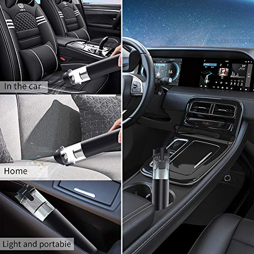 HGV Handheld Mini Car Vacuum Cleaner Absorbing Pressure 50W 5000pa Rechargable in-car HEPA Filtration Car Vacuum (Black)