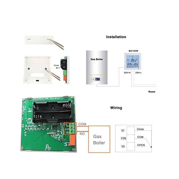 Beok Termostato a Batteria per Caldaia a Gas Programmabile Ambiente Termostato de Parete con Digitale LCD Touchscreen… 4 spesavip