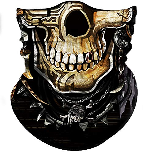 Obacle Skull Face Mask Half Sun Dust Protection, Vivid 3D Tube Mask Seamless, Durable Face Mask Bandana Skeleton Face Shield Motorcycle Fishing Hunting Cycling Festival Many Pattern (Round Nose) for $<!--$9.90-->