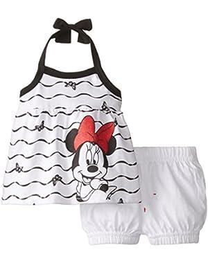 Baby-Girls Minnie Mouse Halter Top Short Set