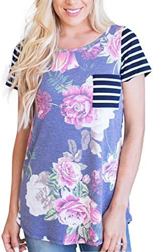 LOSRLY Women Floral Printed Tops Striped Blouse Short Sleeve T Shirt With Pocket