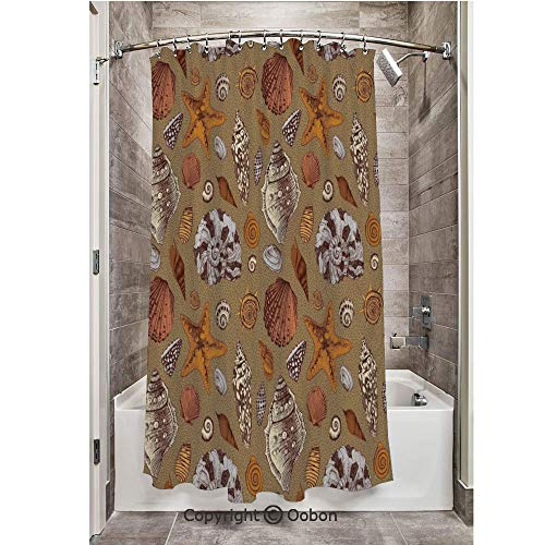 Oobon Shower Curtains, Underwater Starfish Shell Mollusk Seaurchin Sea Horse Pearl Illustration, Fabric Bathroom Decor Set with Hooks, 72 x 72 Inches