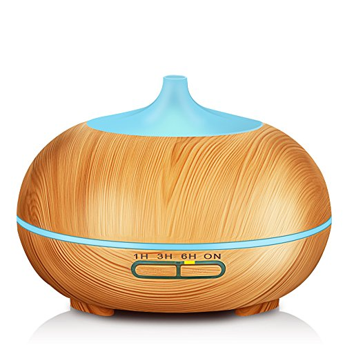 Price comparison product image KBAYBO 300ml Aroma Diffuser, Wood Grain Ultrasonic Cool Mist Humidifier Essential Oil Diffuser for Office Home Bedroom Living Room Study Yoga Spa