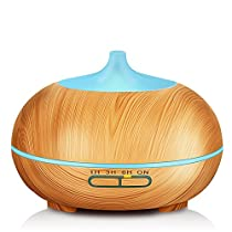 KBAYBO 300ml Aroma Diffuser, Wood Grain Ultrasonic Cool Mist Humidifier Essential Oil Diffuser with 7 Color LED
