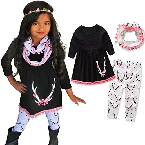Infant Toddler Baby Girls Fall Winter Clothes Outfit 1-5 Years Old,3Pcs Cute Deer Print Tops+ Pants +Scarf Set (4-5 Years Old, Black)