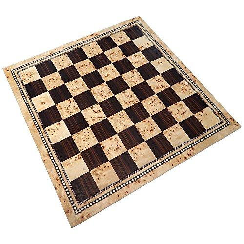 Atlas Tournament Chess Board with Inlaid Burl and Ebony Wood - Board Only - 21 Inch ()
