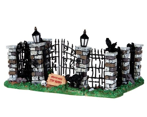 Lemax Spooky Town Spooky Iron Gate and Fence, Set of 5 #34606 by LEMAX at The Neighborhood Corner Store