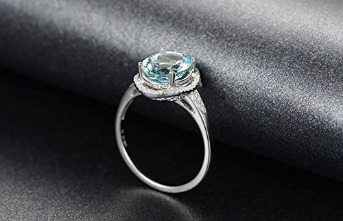 Solid 18k white gold promise ring,0.21ct SI-H Diamond Engagement ring,2.13ct Round Natural VVS blue Aquamarine,pave - Ct Natural 2.13